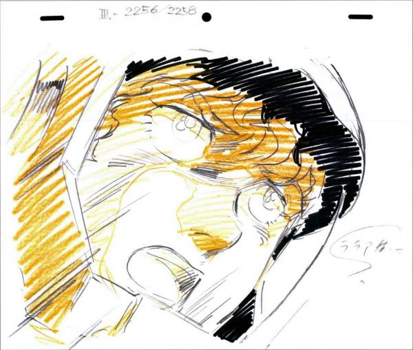 キャラクターのデザインを手がけた安彦良和さんによる主人公アムロ・レイの原画。人間らしい表情やしぐさが登場人物に現実味を与え、ステレオタイプのロボットアニメではない臨場感を生み出した