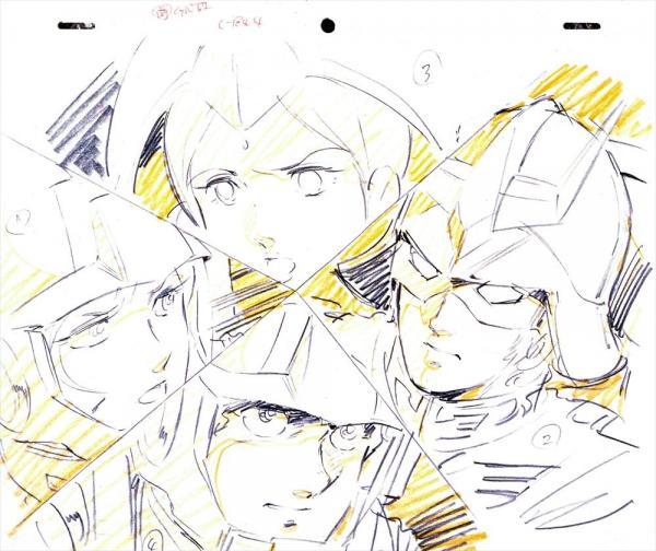 登場人物を重ねるように描いた原画。(上から時計回りに)ララァ・スン、シャア・アズナブル、アムロ・レイ、セイラ・マス。戦いの中で出会った4人の交錯する意識が表情豊かに表されている。アニメでは分割線に合わせて透過光が走る演出もさえた