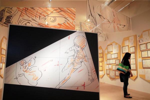 アニメの原画約600点が展示された部屋=2014年7月、大阪市港区の大阪文化館、山本正樹撮影