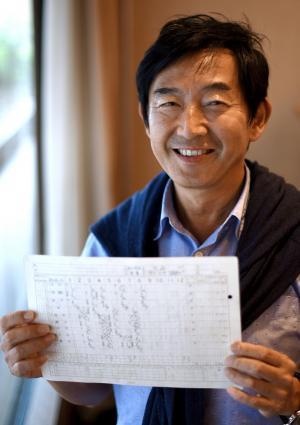 自身が出場した試合の公式スコアを手にする石田純一さん=2015年6月、東京都中央区、白井伸洋撮影