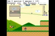 人工知能で攻略方法を学習する「MarI/O(マリオ)」。画面上部に、学習の成果が表示されている