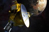 冥王星に接近する無人探査機ニューホライズンズの想像図=NASA提供