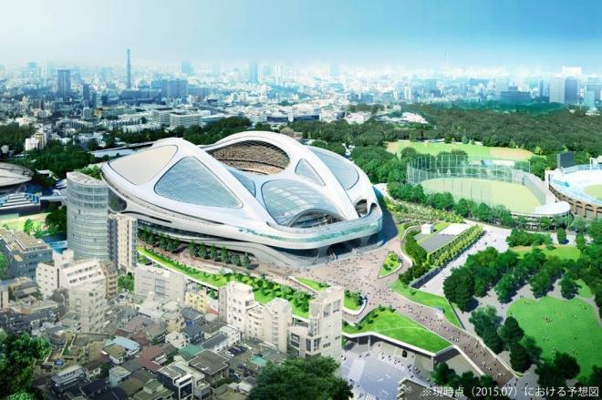 新国立競技場の実施設計のイメージ図。右下には「現時点(2015年7月)における予想図」との注意書き=日本スポーツ振興センター提供