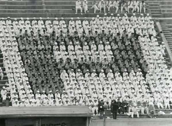 第44回全国高校野球選手権大会 大阪大会 スタンドで「P」の人文字を描くPL学園の応援団=1962年7月