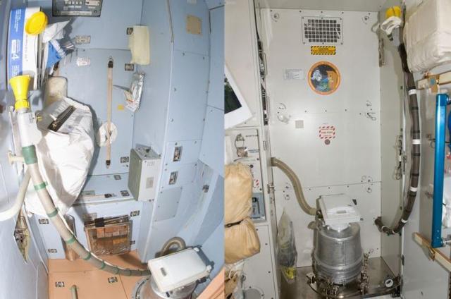 ISSにあるロシアのトイレ(左)と米国のトイレ=いずれもNASA提供