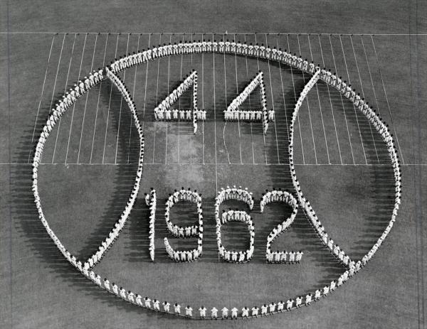 第44回全国高校野球選手権大会 出場30代表チームの選手が描いた人文字=1962年8月9日