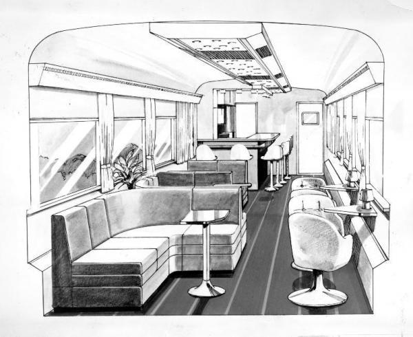 国鉄が1983年に投入した欧風列車の完成予想図。東京南鉄道管理局が投入した「サロンエクスプレス東京」のパノラマラウンジでビュッフェが併設されている=1983年2月