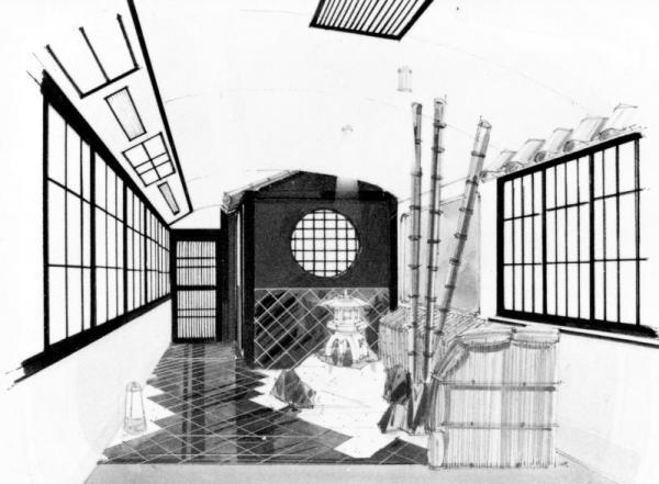 国鉄が発表したミニの和風庭園付きお座敷列車の車内のイラスト=1986年1月