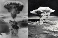 長崎市に投下された2発目の原子爆弾の爆発で、上空に立ち上る原子雲(左)と、広島市上空にひろがるキノコ雲=米軍撮影