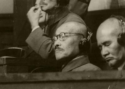 極東国際軍事裁判の東条英機被告=1947年11月