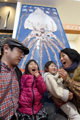 新湊きっときと市場の中に展示されているダイオウイカの前でダイオウイカスルメを試食する親子=富山県射水市