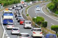 渋滞する中央自動車道=山梨県(一部加工しています)