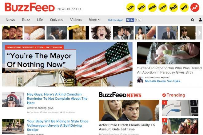 米サイト「バズフィード」のトップ画面