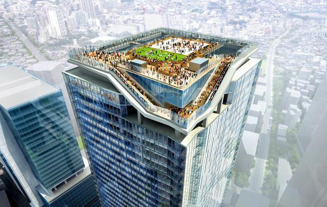 渋谷駅直上の新駅ビル屋上に計画されている展望台のイメージ=東急電鉄提供