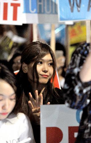 国会前での集会に参加したSEALDsの紅子さん=2015年7月10日