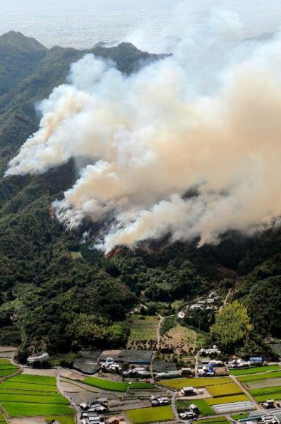 愛媛県今治市の山火事=2008年8月25日