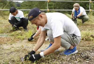 草むしりボランティアをするHOME MADE 家族=福島県相馬市、RockCorps supported by JT 実行委員会提供