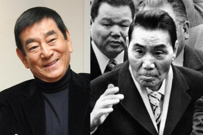 山口組の田岡一雄・3代目組長(右)と、「山口組三代目」で田岡組長を演じた高倉健さん(左)