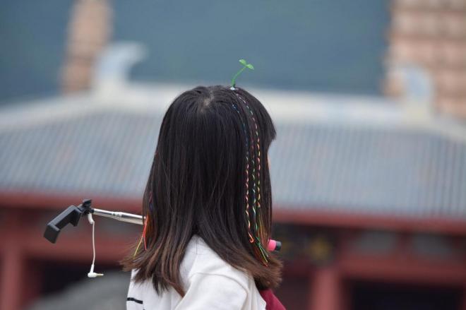 萌えヘアピンをつけた女性=中国・雲南省の観光地、大理