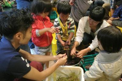 ワイン作りの体験では、手作業でブドウの実を茎から外した