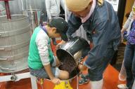 ワイン作りの体験会。住宅地のワイナリー「清澄白河 フジマル醸造所」でのイベントには、大勢の子どもたちも参加した