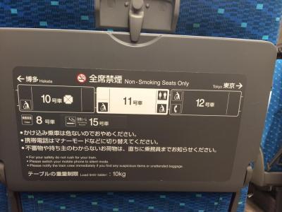 11号車の背面テーブルの案内標記。10号車の喫煙ルームの方が近いが、15号車の案内しか記されていない