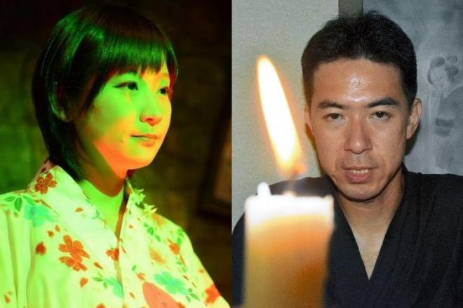 「美人すぎる怪談師」として人気の山口綾子さん(左)と、怪異体験を買い取る「怪談売買所」を開いている宇津呂鹿太郎さん(右)