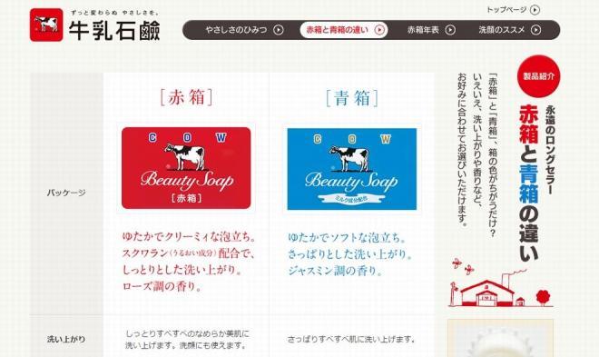 赤箱と青箱の違いはホームページでも説明されている