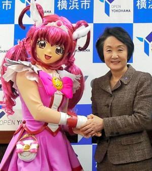 2012年2月、「映画プリキュアオールスターズ」のタイアップキャンペーン企画で、等身大プリキュアと握手をする林文子横浜市長