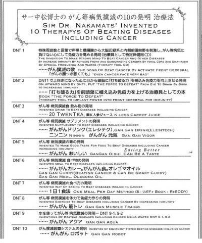 ドクター・中松氏発明の「がん撲滅の10のメソッド」