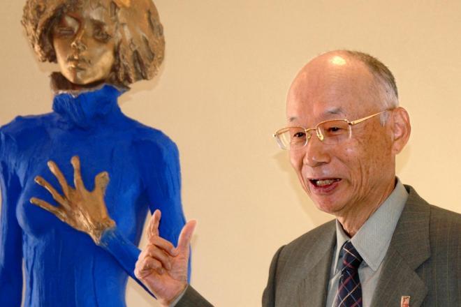 韮崎大村美術館を丸ごと故郷に寄贈した大村智さん=2007年10月22日