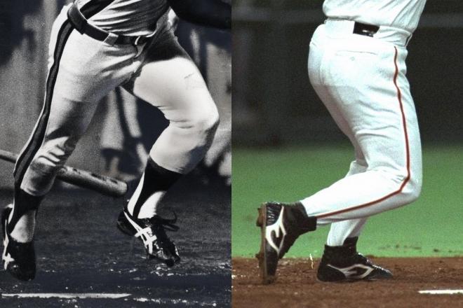 1982年10月9日に史上最年少の28歳で三冠王となった落合選手の裾は短い(左)、1994年5月7日に本塁打を放った時には長くなっている(右)