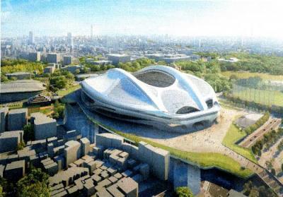 白紙となった新国立競技場の完成イメージ=日本スポーツ振興センター提供