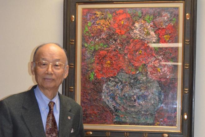 大村智さんの自宅には多くの絵画や美術品が並ぶ=2014年12月27日