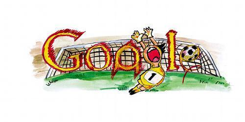 グーグルロゴのデザインコンテストの優秀作品「GOAL! & HIT!」=グーグル提供