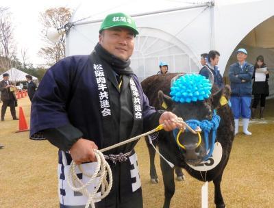 特産松阪牛最高峰の優秀賞1席に輝いた「きくはる」号と畑敬四郎さん=2011年11月27日