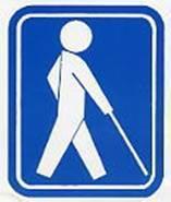 【盲人のための国際シンボルマーク】世界盲人会連合で1984年に制定された盲人のための世界共通のマークです。視覚障害者の安全やバリアフリーに考慮された建物、設備、機器などに付けられています。信号機や国際点字郵便物・書籍などで身近に見かけるマークです。