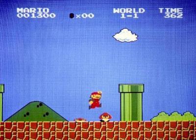 1985年に発売された「スーパーマリオブラザーズ」のゲーム画面=任天堂提供