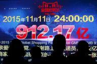 たった1日で912億元(約2兆円)を売り上げた、中国「独身の日」のアリババグループのネットショップの売り上げ数字=ロイター