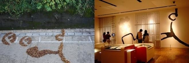 藤子・F・不二雄先生の横顔。右は館内に描かれている横顔 (C)Fujiko-Pro