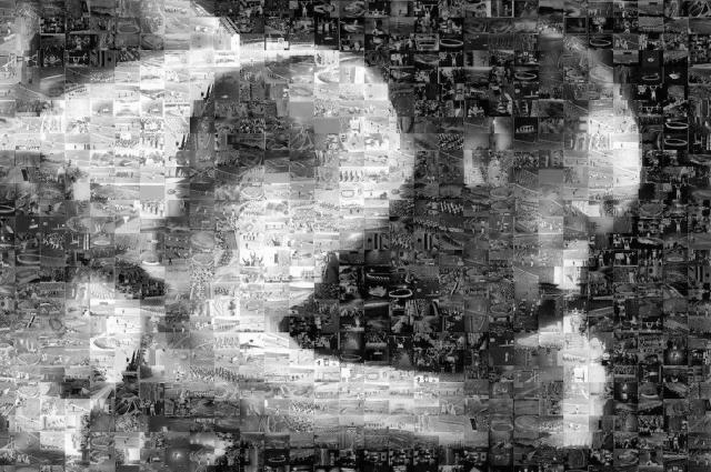 モザイクアートの選手を拡大。1千枚の1964年の写真で再現されている