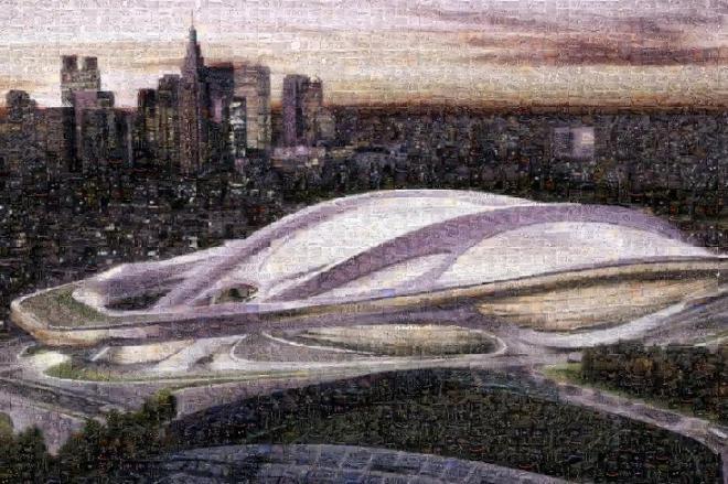 1千枚の写真で作ったザハ競技場のモザイクアート