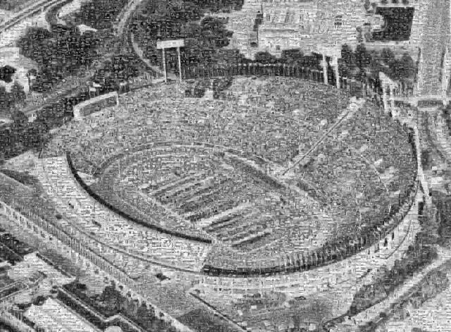 1千枚の過去写真を使って作った、取り壊された国立競技場のモザイクアート