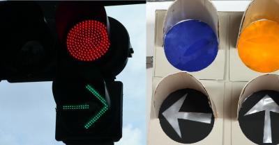 矢印が「―」と「>」に分かれている現在の信号機(左)。悠仁さま制作の信号機は「←」になっている