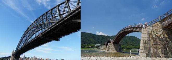 ハーバーブリッジ(左)と錦帯橋