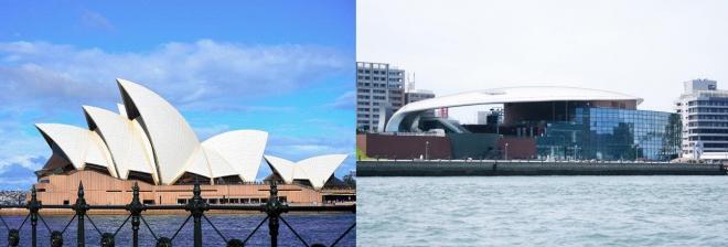 オペラハウス(左)と海響館