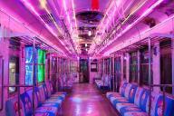 銚子電鉄のイルミネーション電車の内部