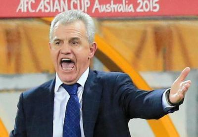 アジア杯で日本代表を指揮するアギーレ監督=2015年1月16日