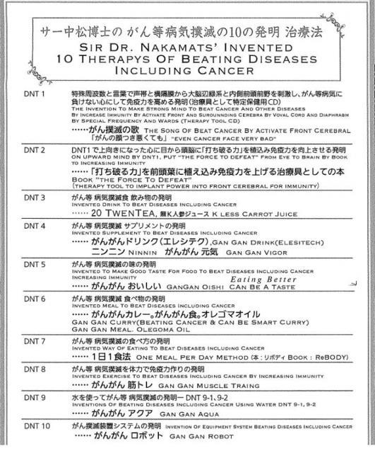 ドクター・中松氏が考案したがん撲滅の10の方法