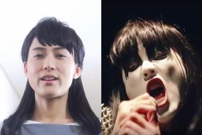 普段のママ(左)と、怒りでデスメタルバンドのボーカルに変身したママ